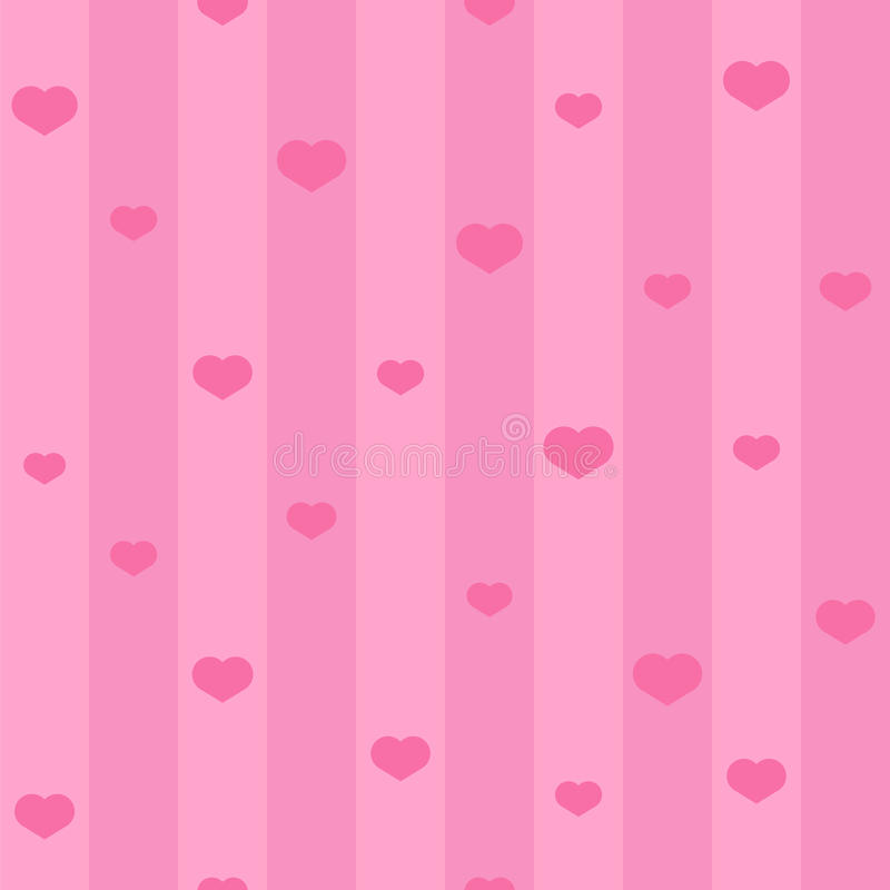 Pink seamless heart pattern. Background with hearts and stripes vector illustration
