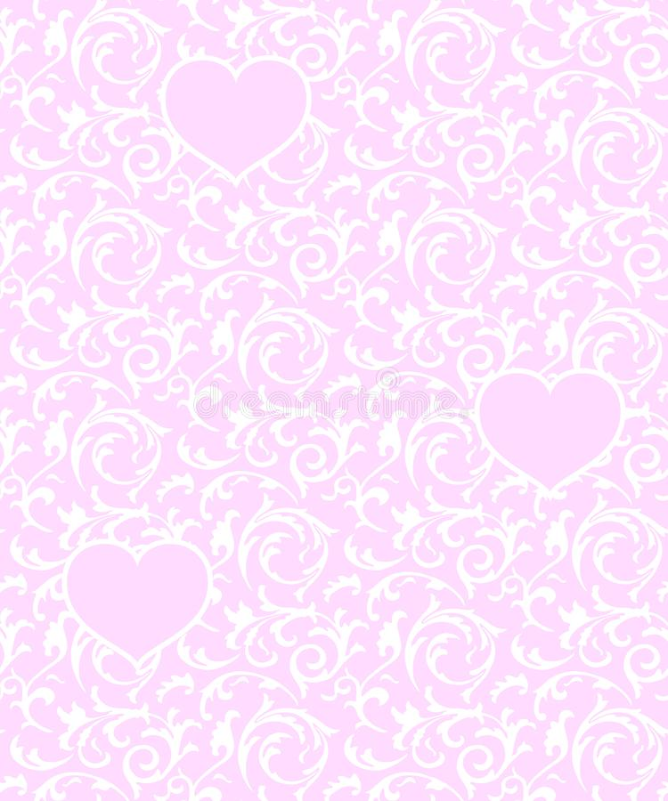 Pink seamless pattern with hearts and white floral element. Baroque Valentines day love vector background. royalty free illustration