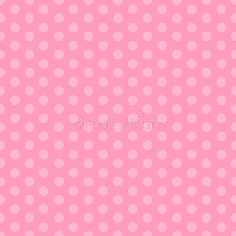 Pink seamless pattern with polka dots. Illustration for girls at a baby shower party. Background for greeting or invitation cards. stock illustration