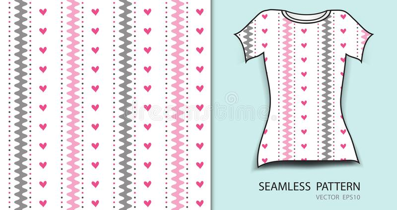Pink seamless pattern vector illustration, t-shirt design, fabric texture, patterned clothing stock illustration