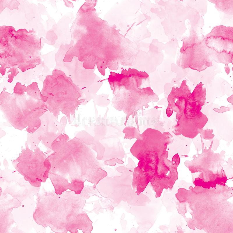 Pink seamless pattern watercolor blots on white background royalty free illustration