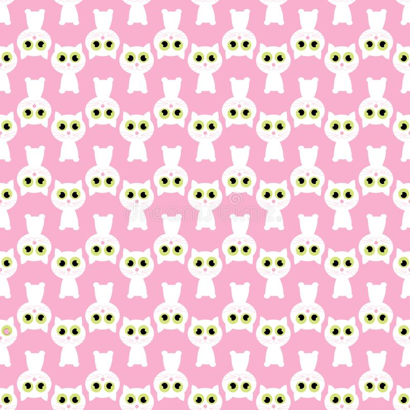 Pink seamless pattern with white cat. illustrations vector illustration