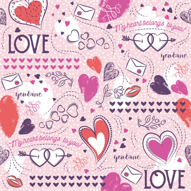 Pink seamless patterned background with, red and blue valentine royalty free stock photography