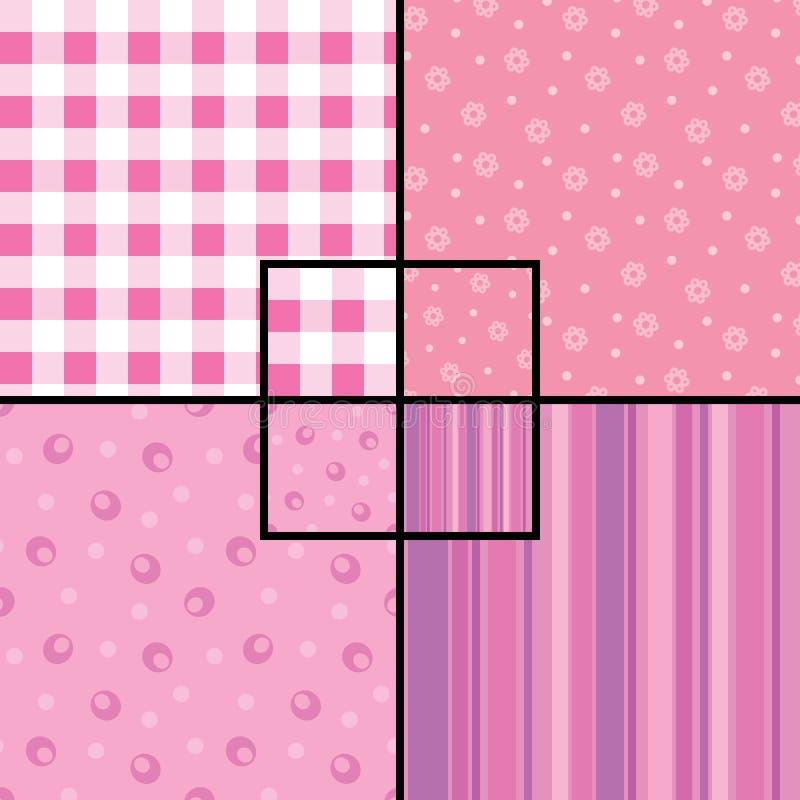 Pink seamless patterns vector illustration