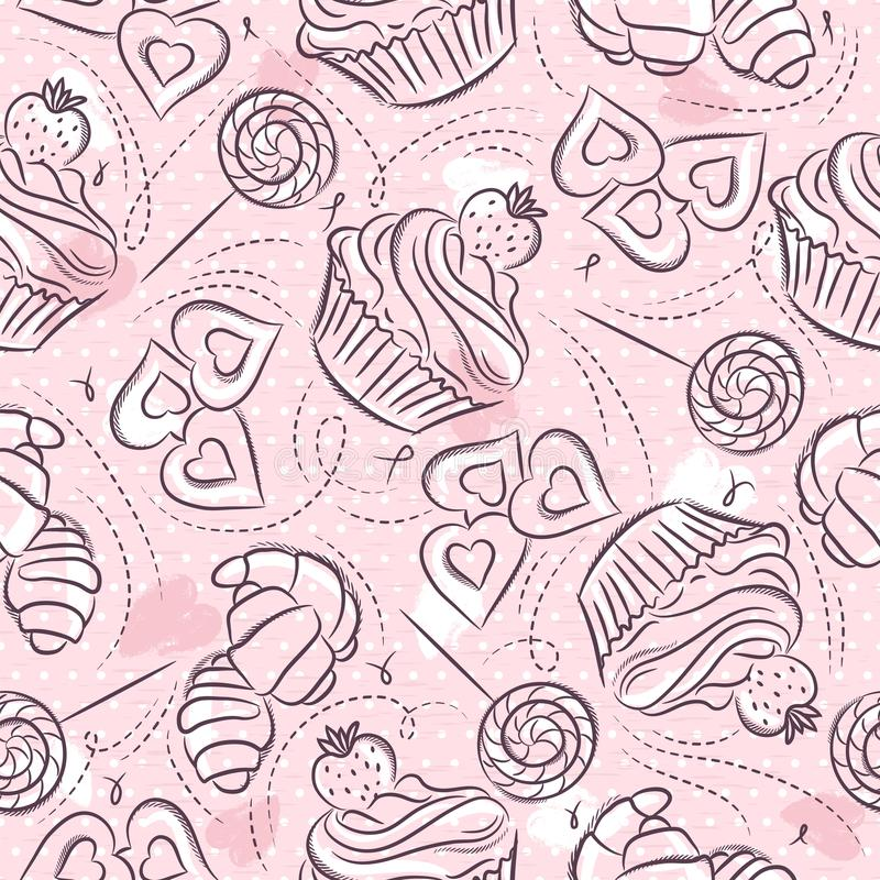 Pink Seamless patterns with cupcake, croissant and cookie on grunge background. Ideal for printing onto fabric and paper or scrap. Booking, vector royalty free illustration