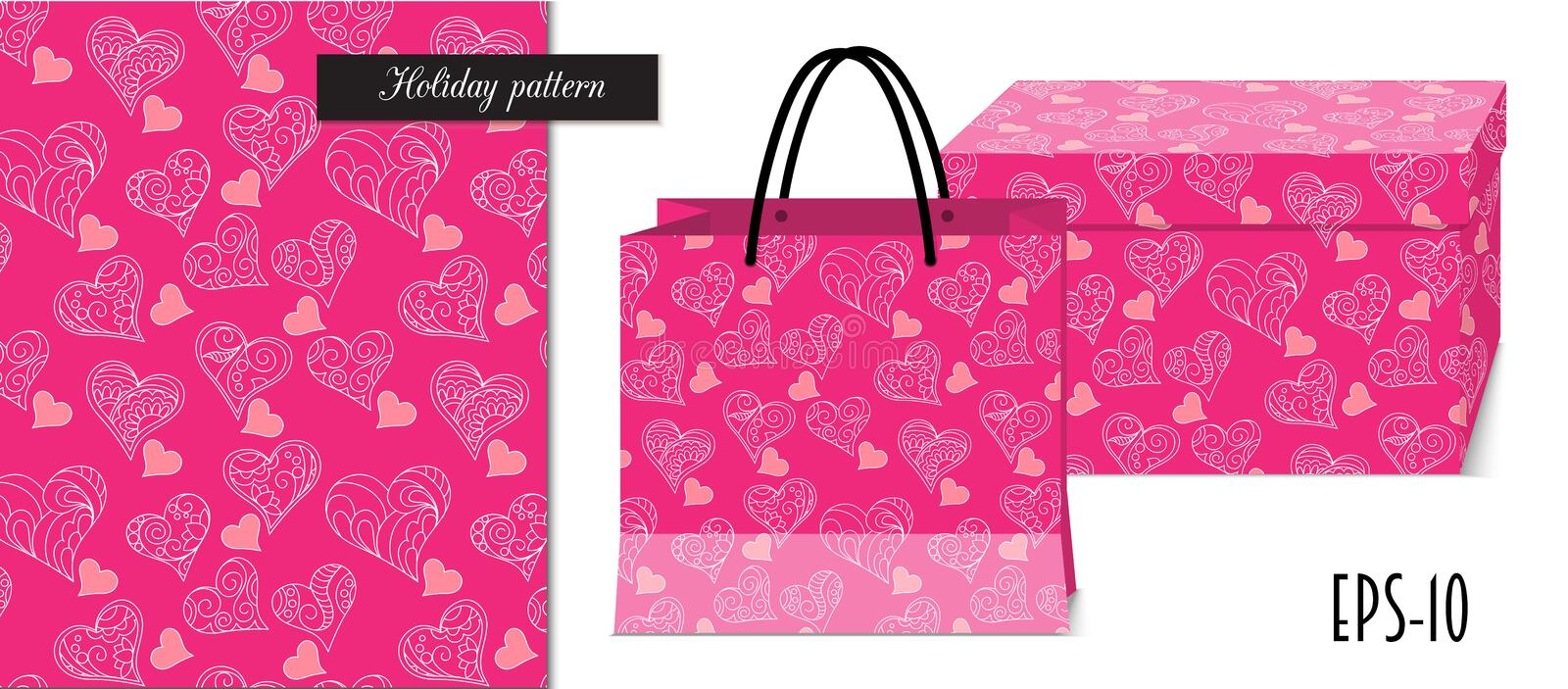 Pink seamless valentine pattern with packing mockup royalty free illustration