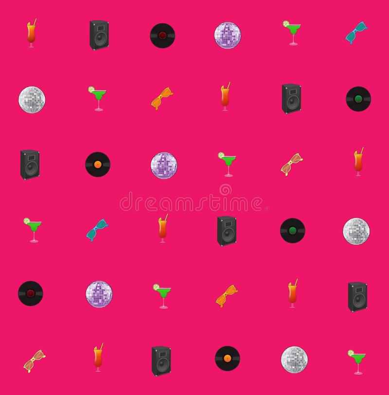 Pink seamless vector disco theme royalty free stock photo