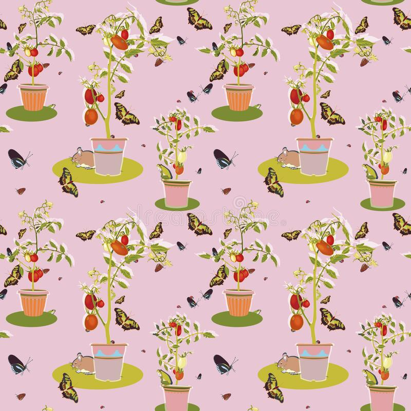Pink garden pattern with tomato plant. vector illustration