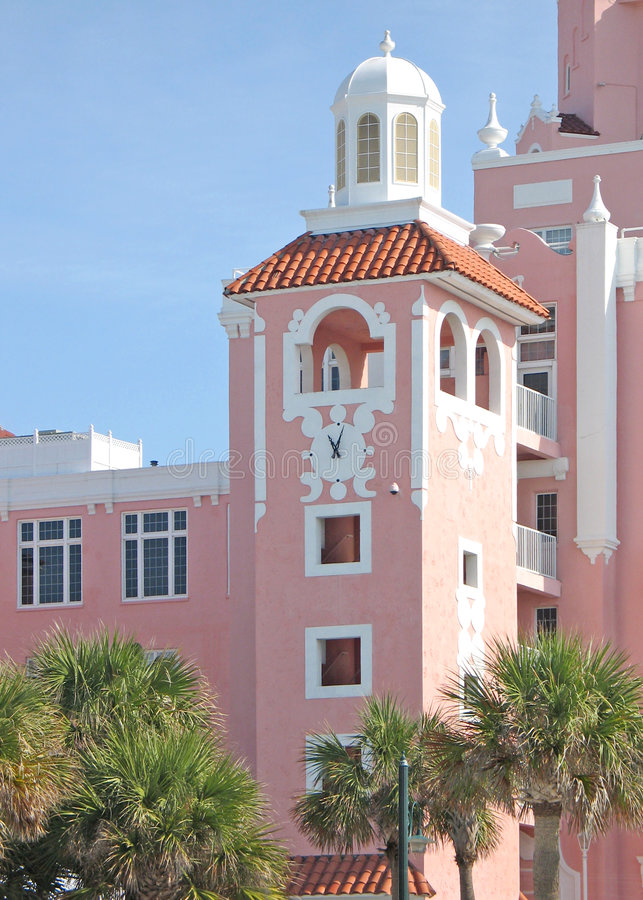 Pink seaside hotel stock images