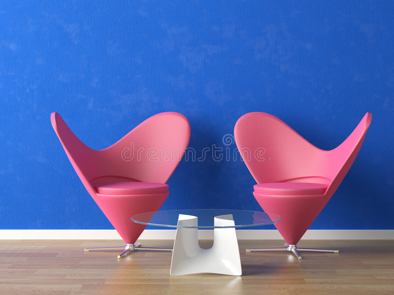 Pink seats on blue wall. Two pink seats on a vibrant blue wall royalty free illustration