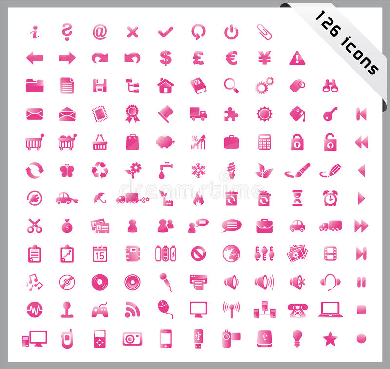 Download Pink Set Of 126 Shiny Icons Stock Vector - Illustration of audio, document: 13947981