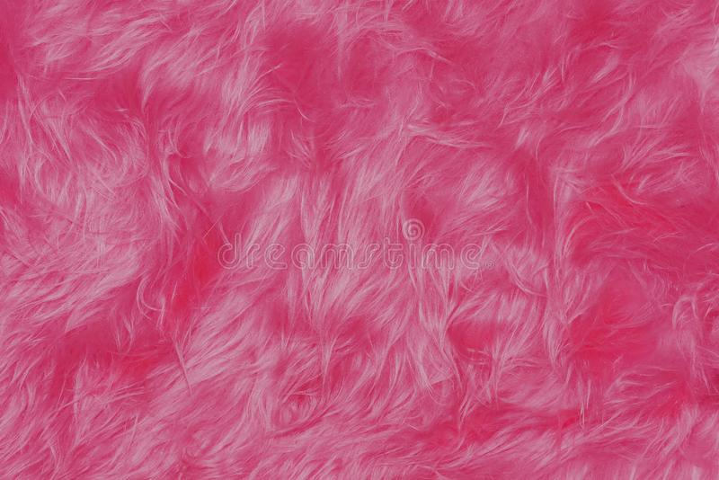 Pink shaggy faux long fur close up. Background royalty free stock photography