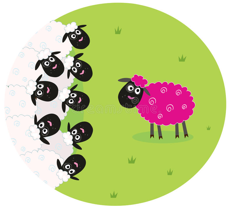 Download Pink Sheep Is Lonely In The Middle Of White Sheep Stock Vector - Image: 14408915