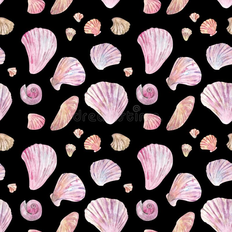 Pink shell watercolor seamless pattern on black royalty free illustration