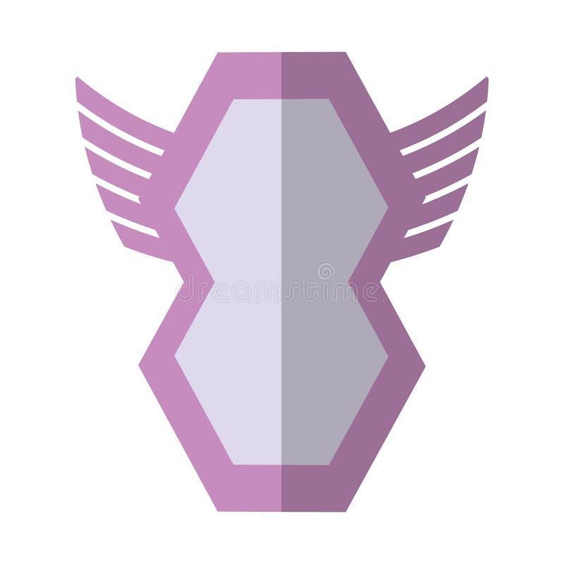 pink shield winged shape geometric badge shadow stock illustration