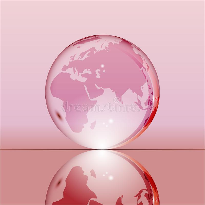 Pink shining transparent earth globe. With Eurasia, Africa and Australia continents laying on glass surface and reflecting in it. Bright and shining design stock illustration