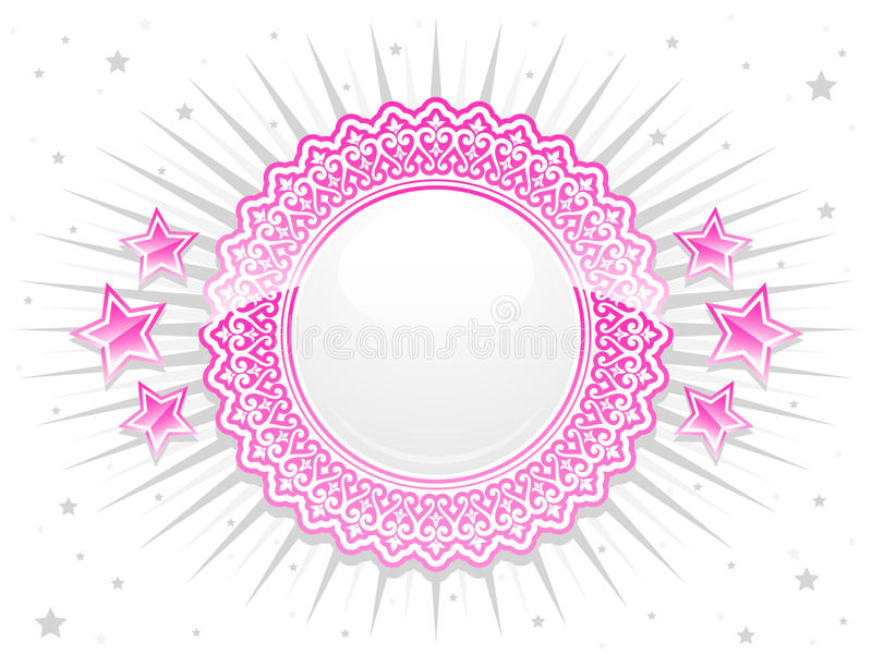 Pink shiny lace crest with stars vector illustration