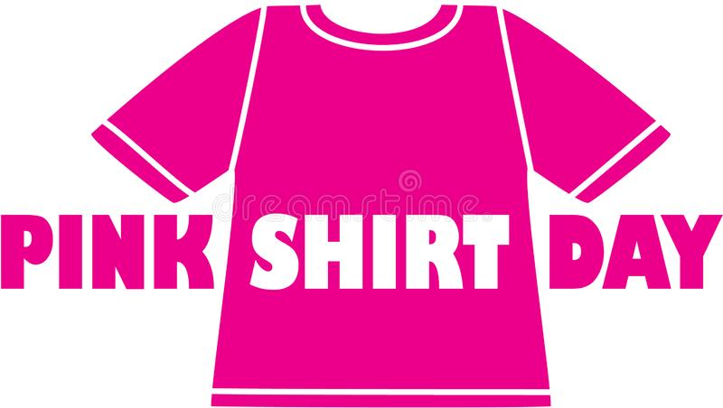 Pink shirt day logo. Pink shirt with the words Pink Shirt Day vector illustration