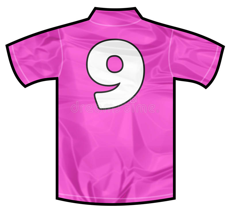 Pink shirt nine. Number 9 nine pink sport shirt as a soccer,hockey,basket,rugby, baseball, volley or football team t-shirt. For the goalkeeper or woman player vector illustration