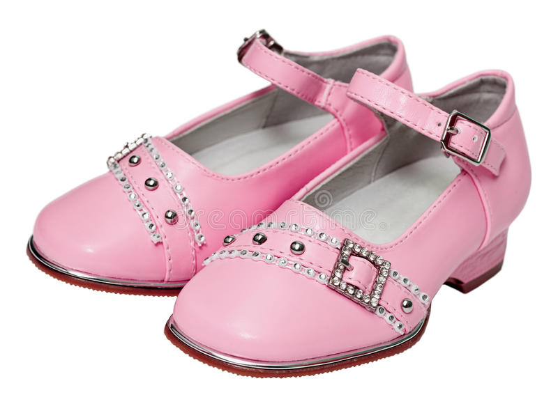 Pink shoes for girls on white