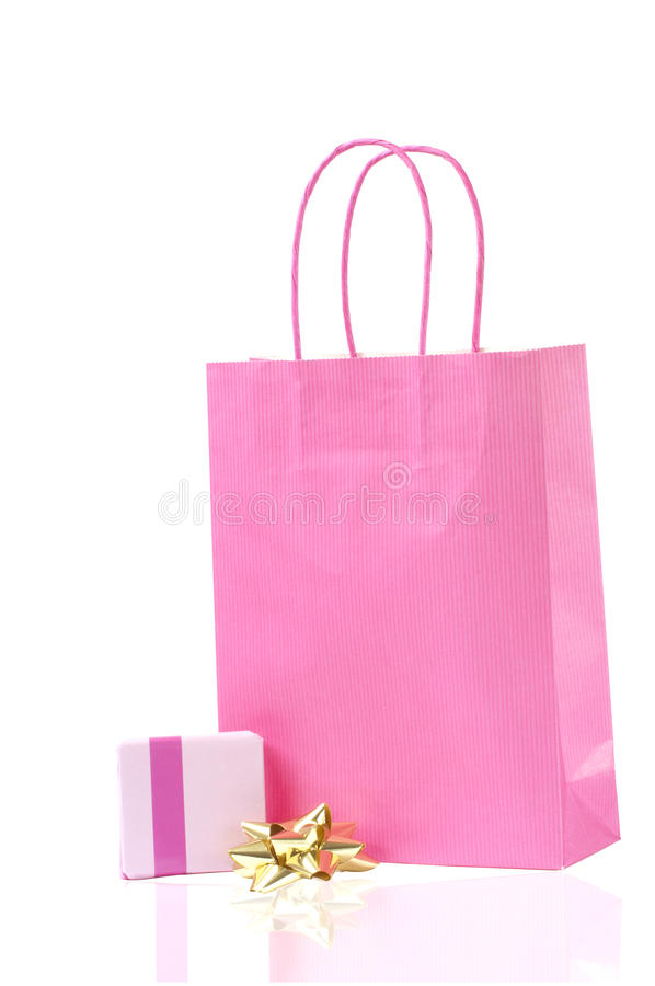 Free Pink Shopping Bag And A Wrapped Present Royalty Free Stock Image - 19627046