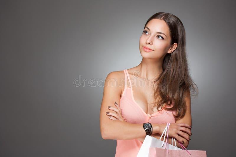Download Pink shopping. stock photo. Image of hispanic, lady, purchase - 33653428