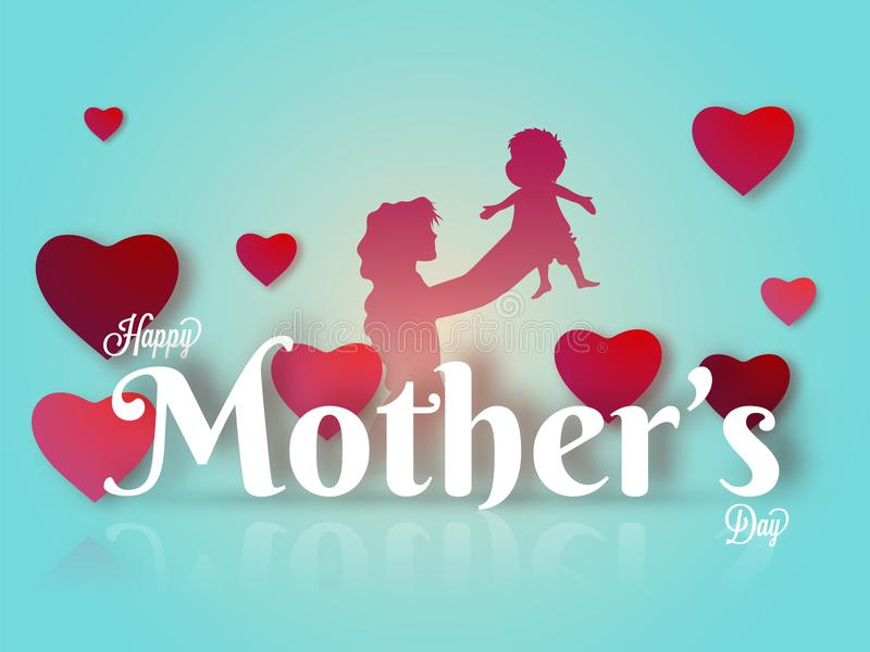 Pink silhouette of a mother with her infant on hearts decorated. Background with stylish text Happy Mother`s Day on shiny skyblue background royalty free illustration