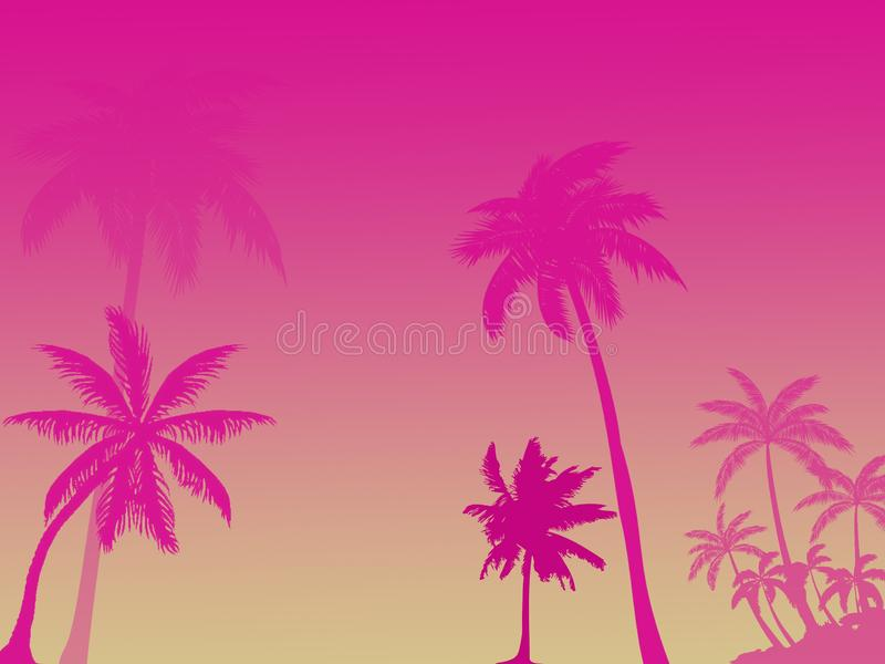 Pink silhouettes of palm trees on pink red background, several p royalty free illustration