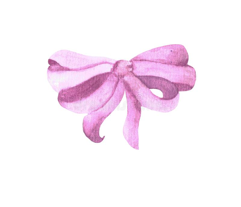pink silk bow on a white background. royalty free stock photos