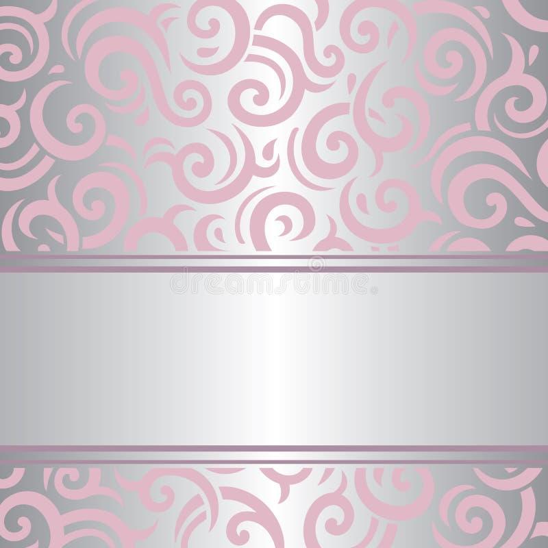 Pink & silver invitation vintage retro vector wallpaper design stock illustration
