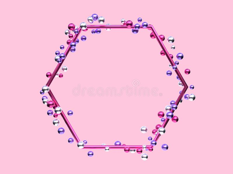 Pink silver purple metallic geometric shape frame many ball/sphere levitation 3d rendering abstract background vector illustration