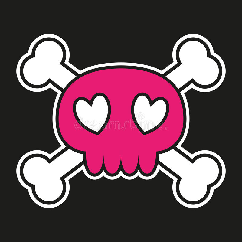 Pink skull with crossbones stock illustration
