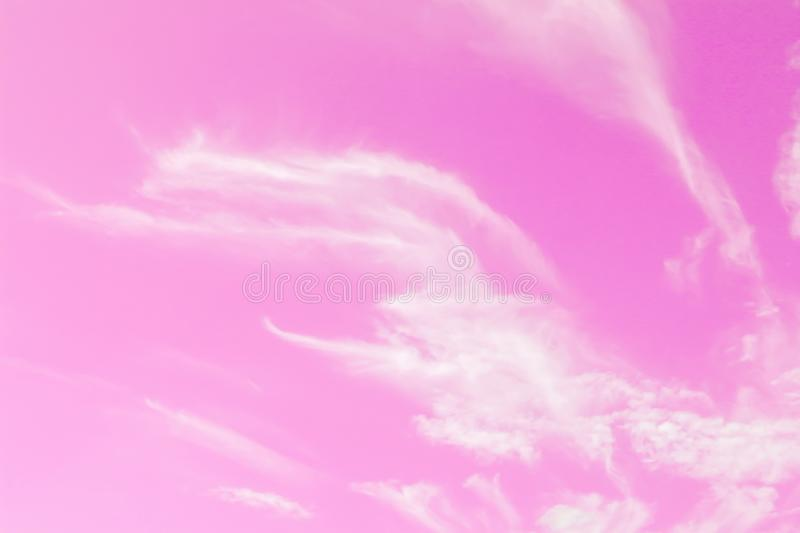 Pink sky and beautiful white clouds stock photography