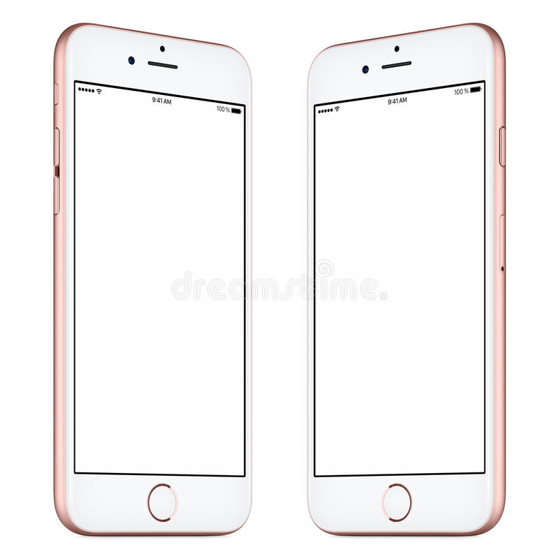 Pink smartphone mockup slightly rotated both sides. Smartphone. This smartphone mockup includes both sides of slightly rotated pink or rose gold smartphone with royalty free stock photo