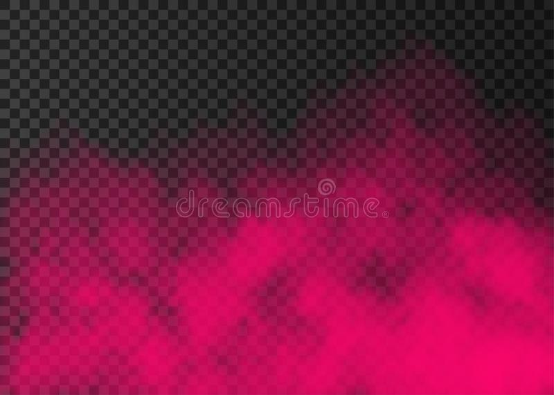 Pink smoke  or fog  on transparent background. Pink smoke   on transparent background.  Steam special effect.  Realistic  colorful vector fire fog  or mist royalty free illustration