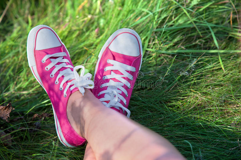 Download Pink Sneakers On Girl Legs Stock Images - Image: 21489004