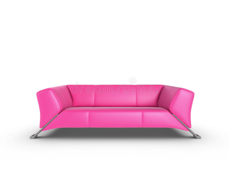 Pink Sofa. Pink 3d sofa, isolated on a white background royalty free illustration