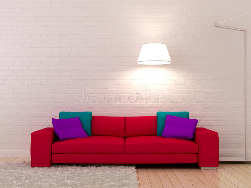 Pink sofa against a white wall. Bright pink sofa against a white brickwork and glowing floor lamp stock illustration