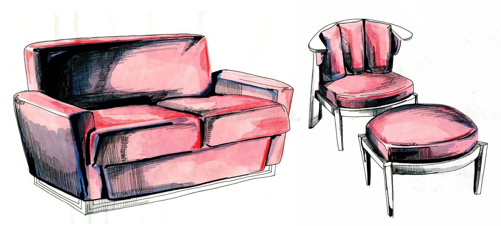 Pink sofa and armchair. Pink sofa Imperial Tokyo and armchair Friedman Frank Lloyd Wright. Three pieces of furniture. Hand drawn illustration vector illustration
