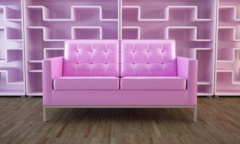 Pink sofa and bookcase. Pink modern sofa and modular bookcase in inteior stock illustration