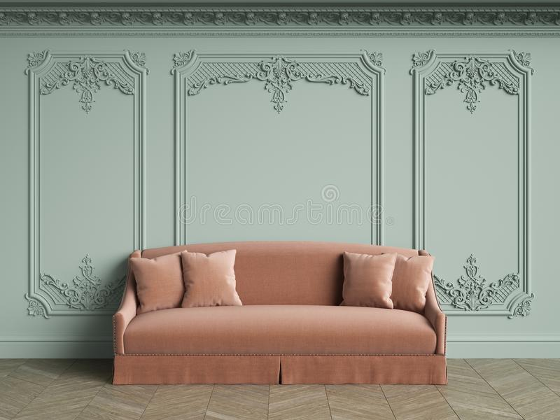 Pink sofa in classic vintage interior with copy space. Pale olive walls with moldings and decorated cornice. Floor parquet herringbone.Digital Illustration.3d vector illustration