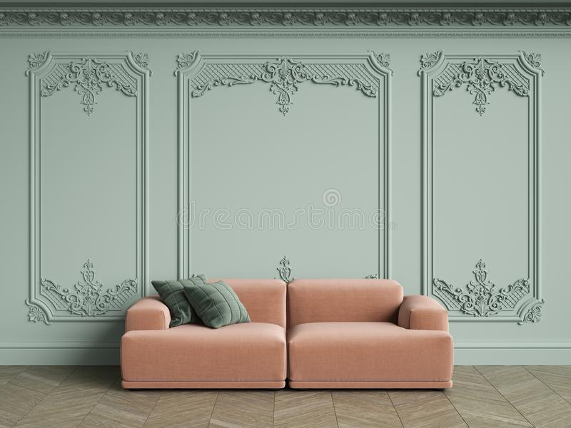 Pink sofa with green pillows in classic vintage interior with copy space. Pale olive walls with moldings and decorated cornice. Floor parquet herringbone royalty free illustration
