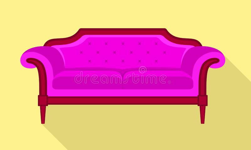 Pink sofa icon, flat style. Pink sofa icon. Flat illustration of pink sofa vector icon for web design royalty free illustration