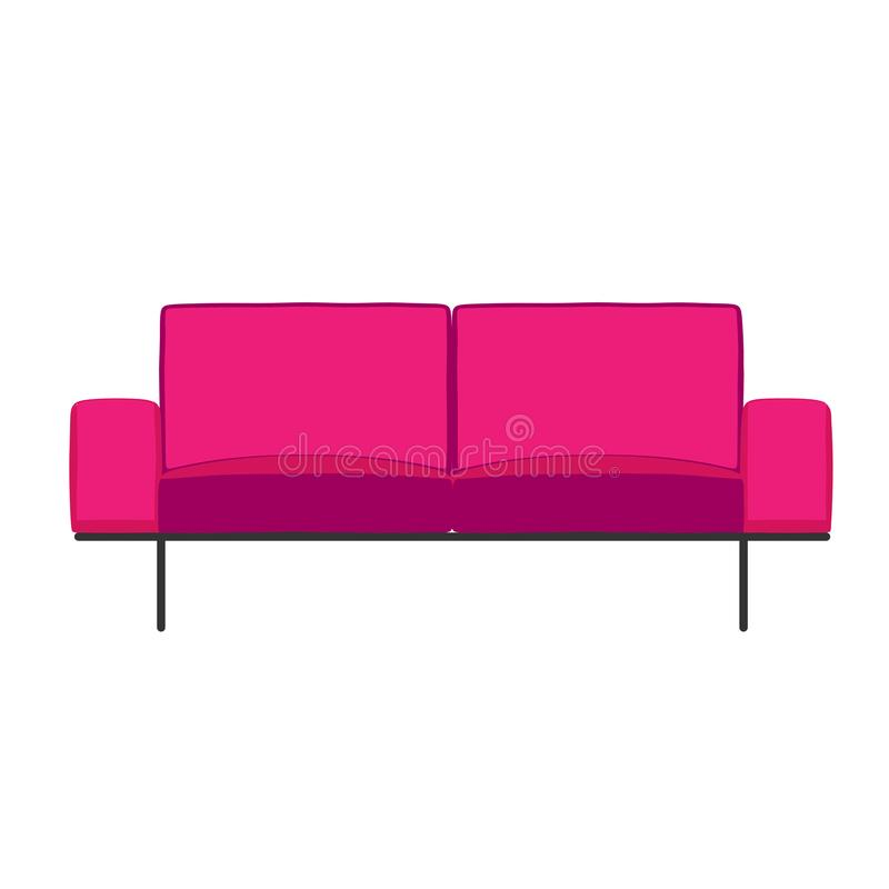 Pink sofa interior front view isolated on white vector illustration.  royalty free illustration