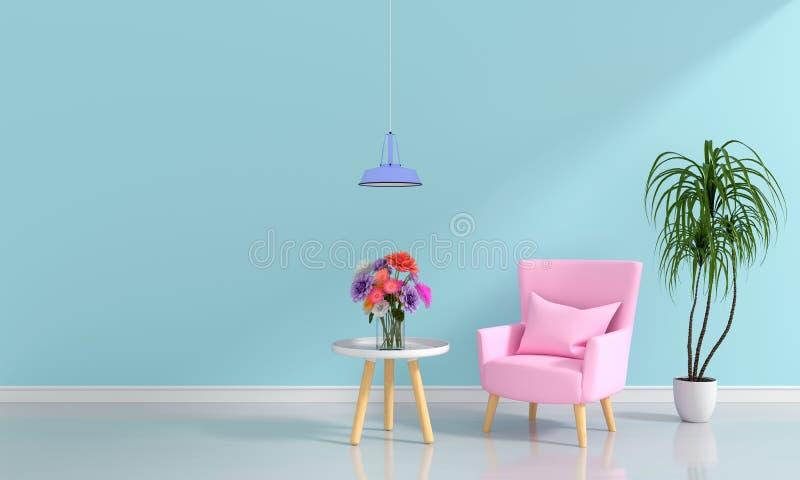 Pink sofa in light blue living room, 3D rendering. Pink sofa in light blue living room for mockup, 3D rendering stock illustration