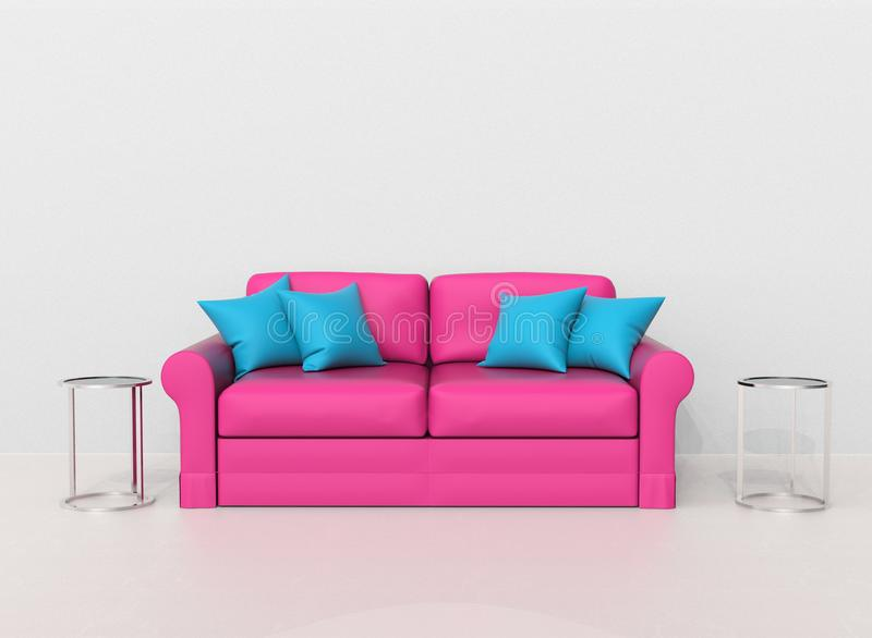 Pink sofa with light blue pillows with two end tables on the sides. 3D Illustration stock illustration