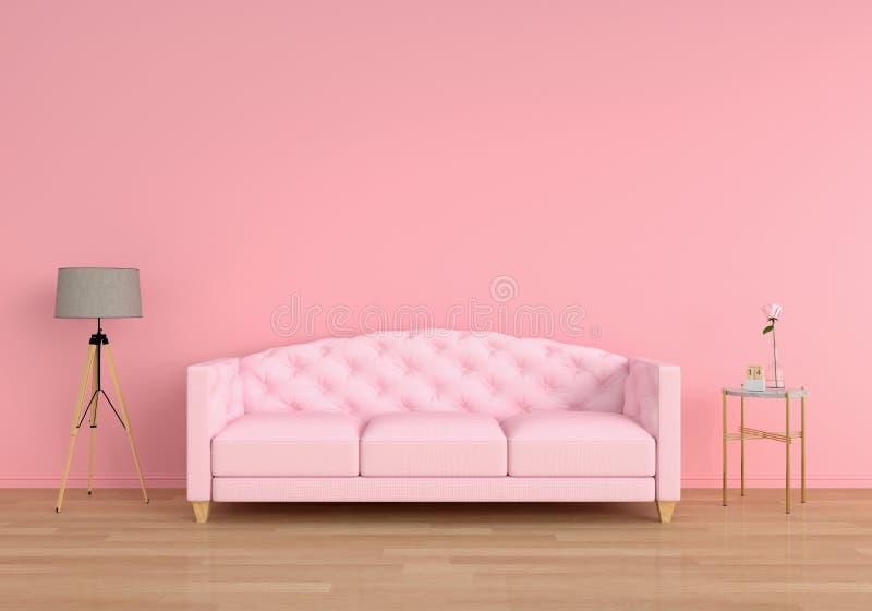 Pink sofa in living room, 3D rendering. Pink sofa in pink living room, 3D rendering vector illustration