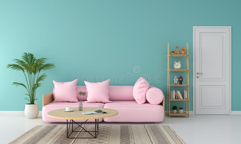 Pink sofa in living room, summer color concept, 3D rendering. Pink sofa in living room for mockup, summer color concept, 3D rendering royalty free illustration