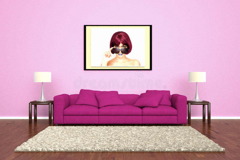Pink sofa with picture attached. To wall and brown carpet royalty free illustration