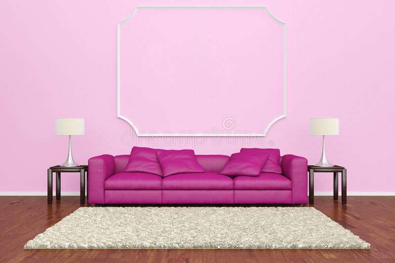 Pink sofa with wall decoration. And brown carpet on wooden floor stock illustration